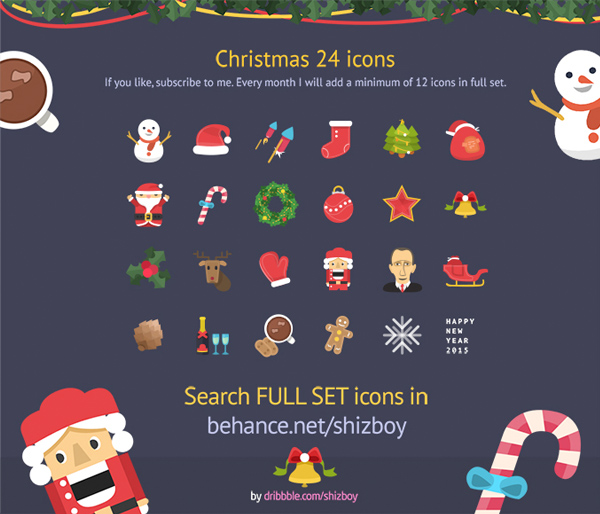 24 Flat Christmas Icons Set PSD 14 tree snowman snowflake set santa icons holly hat flat christmas icons christmas